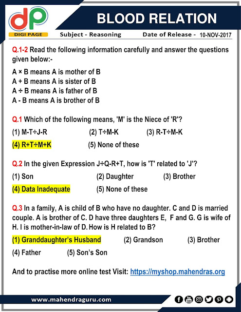 DP | Blood Relation For IBPS Clerk  | 10 - 11  - 17