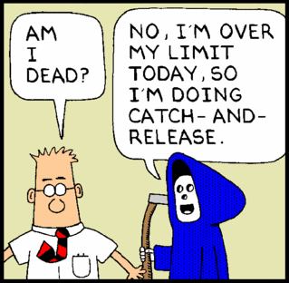 Dilbert strip -- Am I dead? -- No, I'm over my limit today so I'm doing catch-and-release
