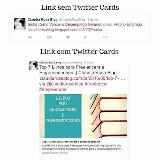 Comparando Links sem Twitter Cards e com Twitter Cards
