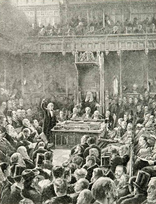 Gladstone at the age of eighty-two introducing the Home Rule Bill of 1893