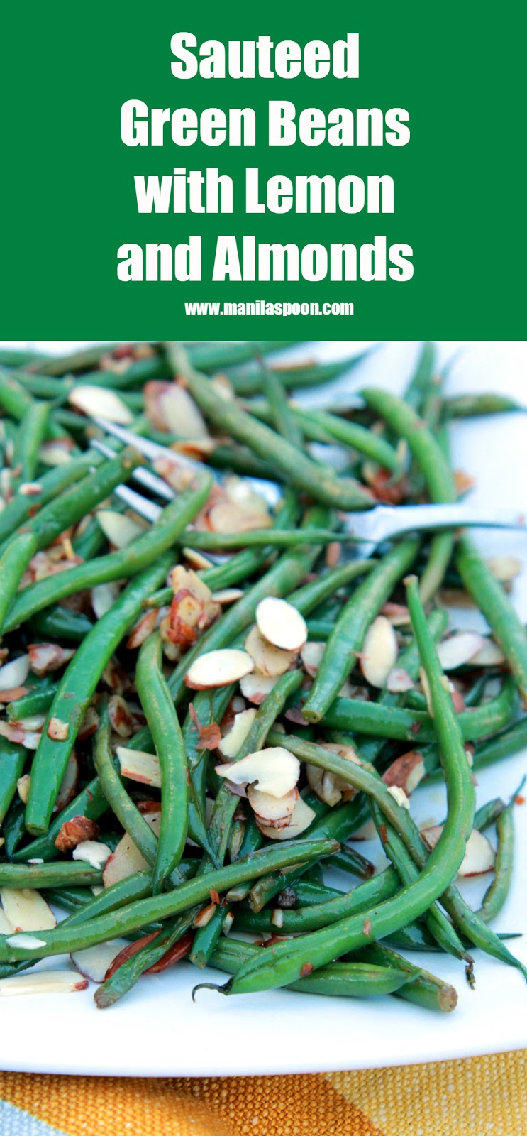 Just 5 minutes to make this tasty side dish full of buttery, lemony goodness and extra crunch from Almonds! Sautéed Green Beans with Lemon and Almonds