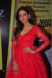 Actress Model Parul Yadav Stills in Red Long Dress at South Scope Lifestyle Awards 2016 Red Carpet  0062.JPG