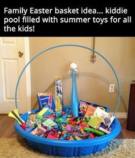 kiddie pool easter basket with a hula hoop handle