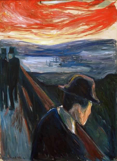 "Edvard Munch, ""Sick Mood at Sunset Despair"", 1892 | cuadros, pinturas, obras de arte, art pictures."