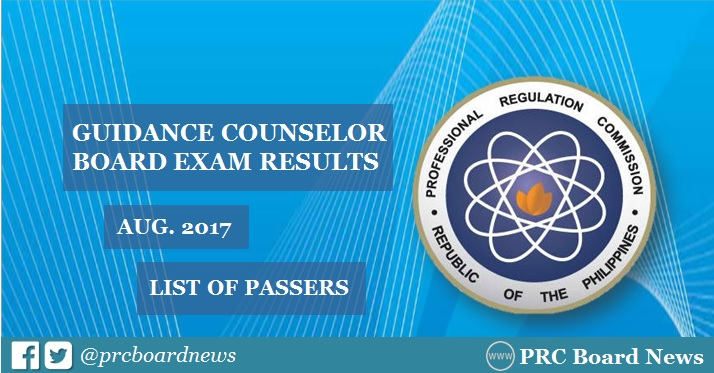 August 2017 Guidance Counselor board exam passers list