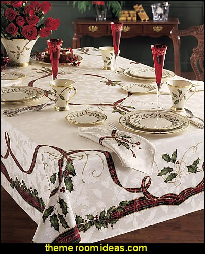 christmas table decorations Holiday Nouveau Tablecloth  christmas kitchen decorations - Christmas table ware - Christmas mugs  - Christmas table decorations - Christmas glass ware - Holiday decor - Christmas dining - christmas entertaining - Christmas Tablecloth - decorating for Christmas - Cookie Cutters