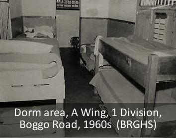 A Wing dormitory area, No.1 Division, Boggo Road Gaol, Brisbane, 1960s.