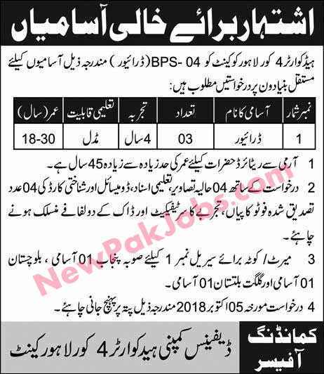Headquarter 4 Core Lahore Cantt Today 27 September 2018 Jobs