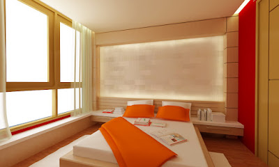 the-orange-bedroom-design-ideas-with-wooden-floor-and-white-fur-rugs-also-platform-bed-with-white-covered-bedding-sheet-also-orange-blanket-and-white-orange-pillows-colors-combine-with-glass-divid