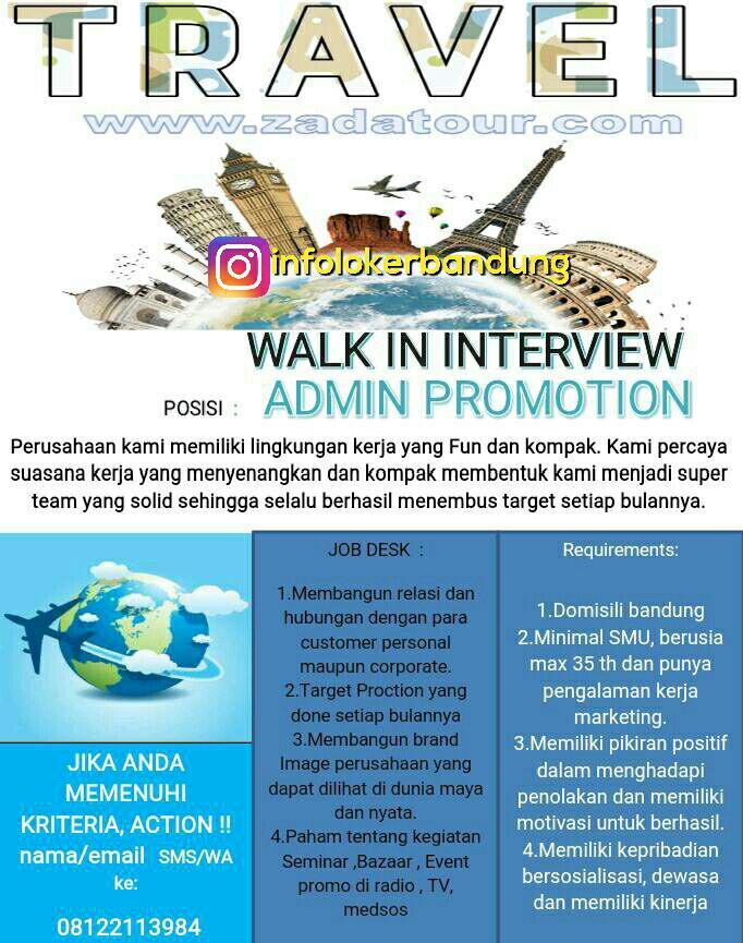 Lowongan Kerja Zada Tour & Travel Bandung Juni 2017