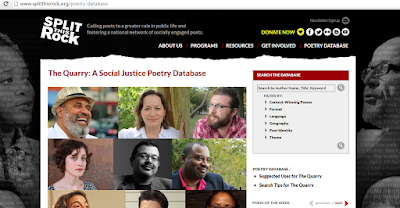 photo of The Quarry website featuring collage of 6 poets included in poetry database