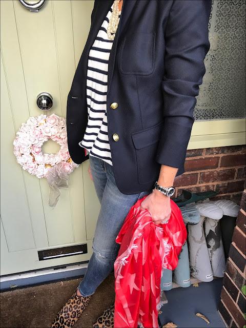 My Midlife Fashion, J Crew Breton, J Crew rhodes blazer, j crew decked stripe shirt, zara skinny distressed jeans, boden leopard print flat ankle boots, stella mccartney silk and modal blend jacquard scarf