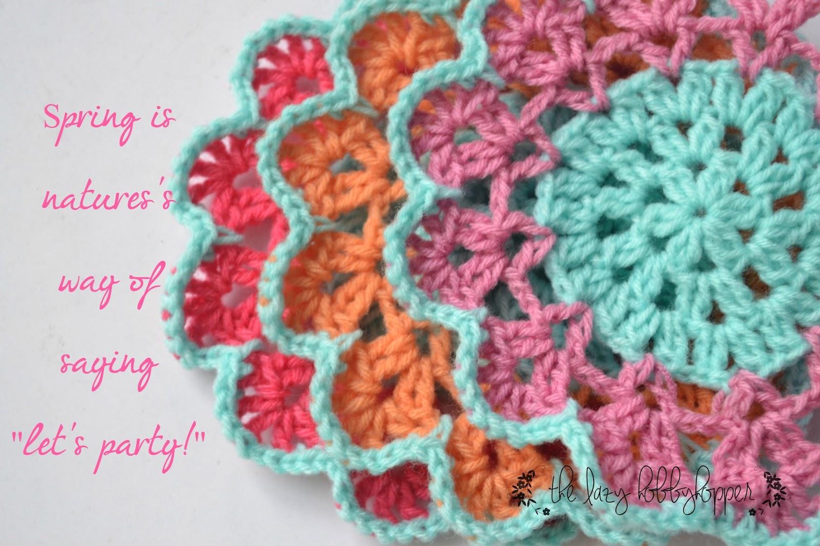 Free Crochet Double Flower Pattern : The Lazy Hobbyhopper: Spring blossom coasters - free pattern