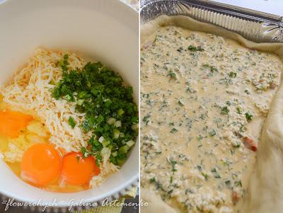 начинка для пирога с яйцами, сыром и зеленью
