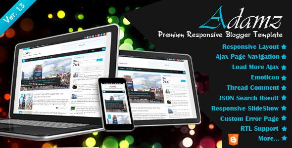 ADAMZ Responsive Premium Blogger Template Free Download