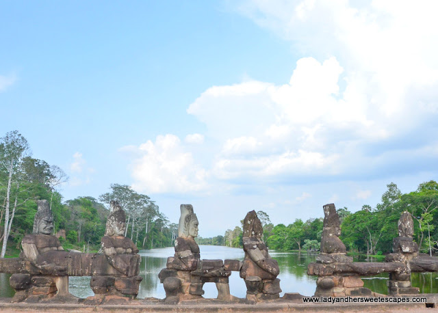 the moat surrounding Angkor Thom's walls