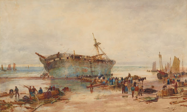 "Artwork, XIX century art, watercolours, ""Clearing a wreck, coast of Picardy"" by Thomas Bush Hardy, 1884."