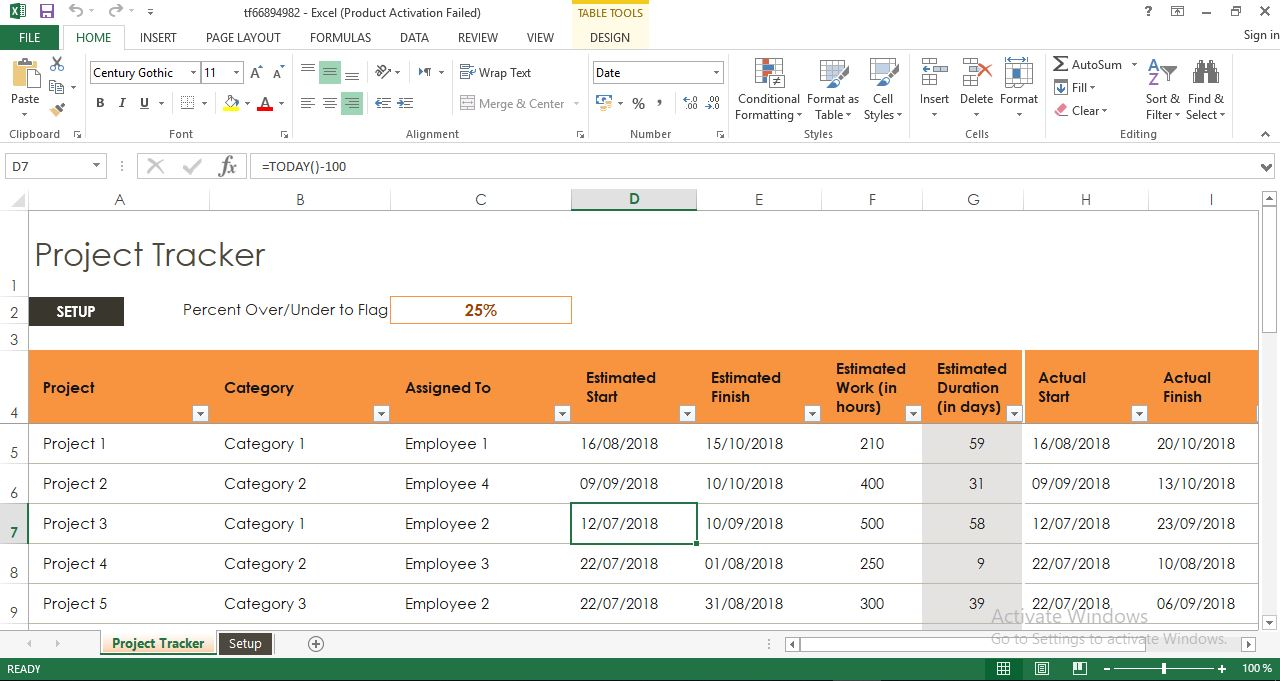 project tracker excel template engineering management