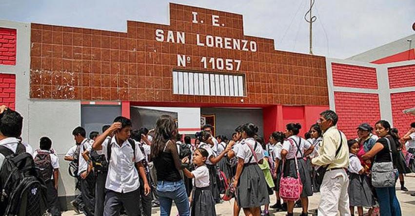 10% de colegios de Chiclayo terminarán el año escolar la primera semana de enero