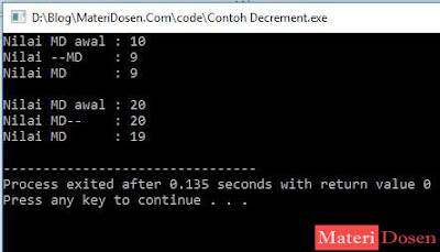 Contoh program Pre-Decrement dan Post-Decrement
