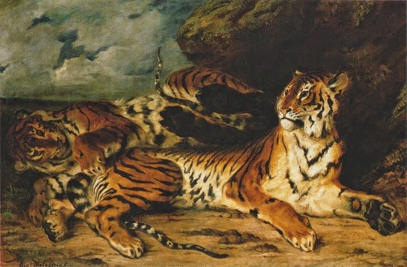 Um Tigre Novo Brincando com sua Mãe - Delacroix, Eugène e suas principais pinturas ~ Romantismo francês