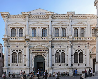 The facade of the historic Scuola Grande di San Rocco