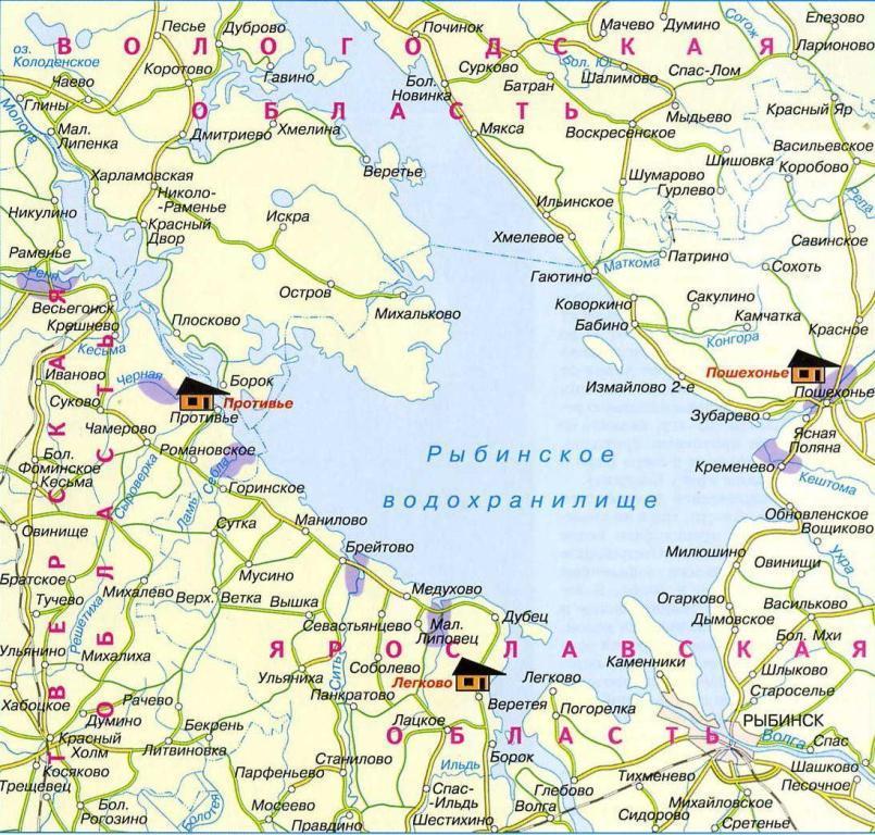 карта для рыбалки ярославль