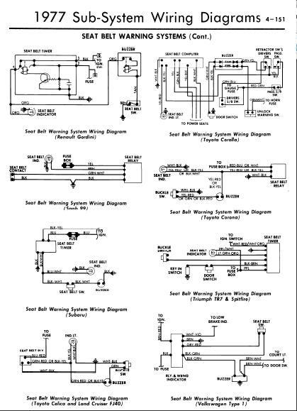 repairmanuals: 1977 Seat Belt Warning Wiring Diagrams