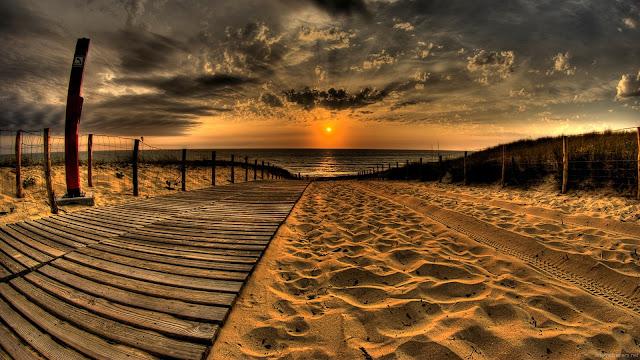Sunset, Horizon, Sea, HD