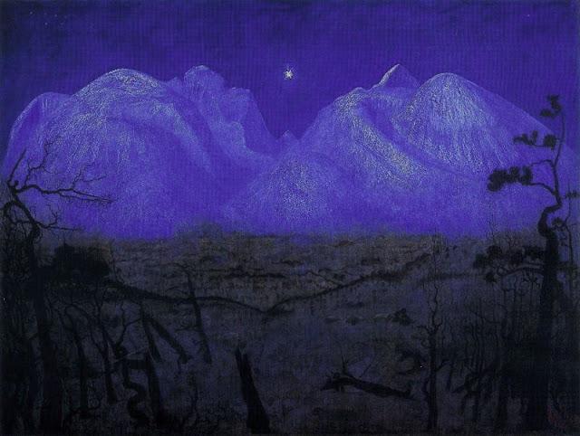 Nuit d'Hiver à Rondane : Harlad  Oskar Sohlberg national Gallery d'Oslo