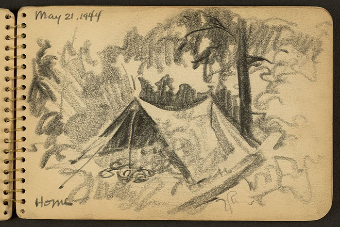 21-Year-Old WWII Soldier's Sketchbooks Show War Through The Eyes Of An Architect - Home. Tent In Woods Drawn While Stationed At Fort Jackson, South Carolina