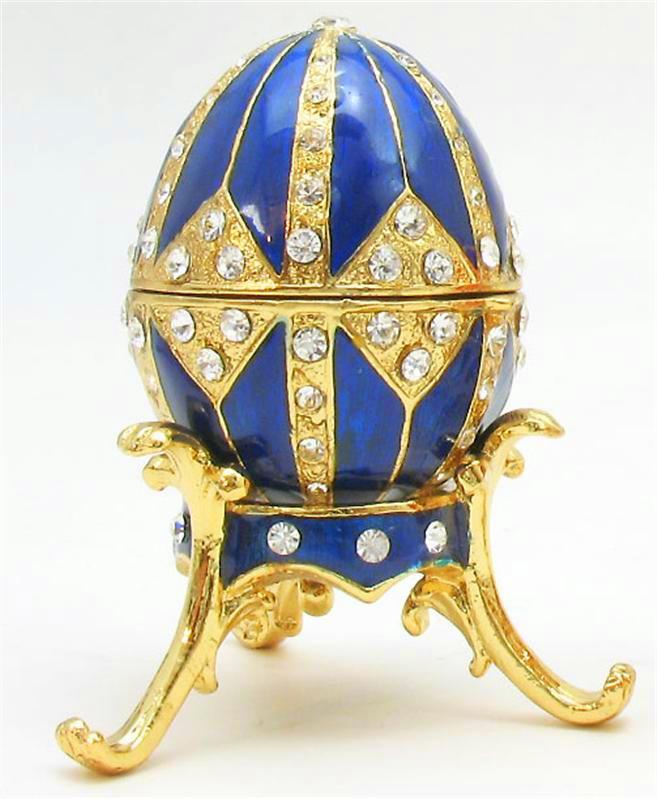 Foto de um Ovo de Fabergé - Azul com Dourado e Pedras Brilhantes