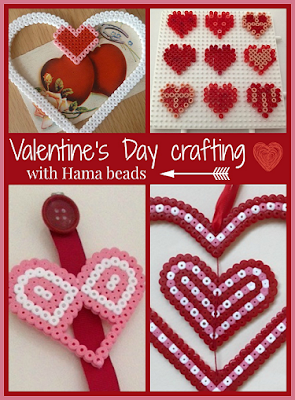 Valentine's Day themed crafts using Hama beads