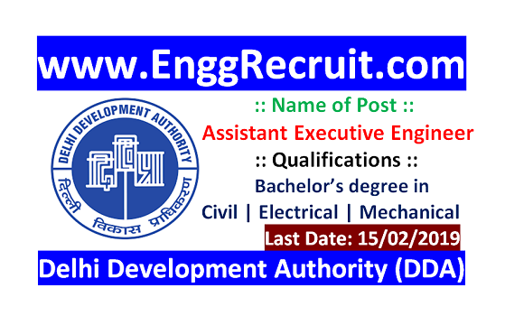 DDA Recruitment 2018 for Assistant Executive Engineer