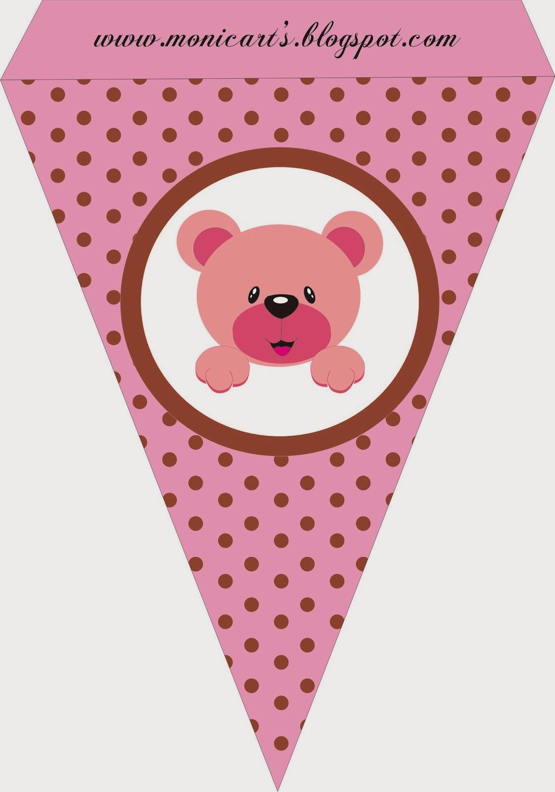 Pink Bear, Free Printable Banner.