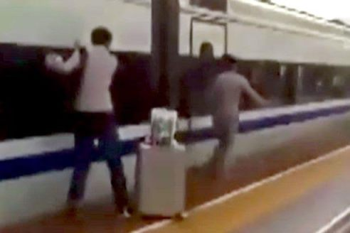 Video shows the horrifying moment train traps a man's finger