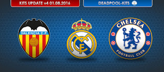 Valencia CF, Real Madrid & Chelsea FC Kits 2016-2017 Pes 2013