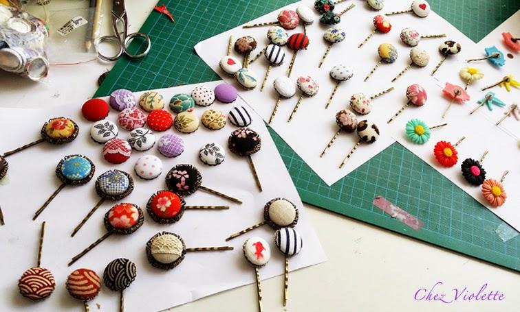barrettes romantiques et colliers de tissu par Chez Violette