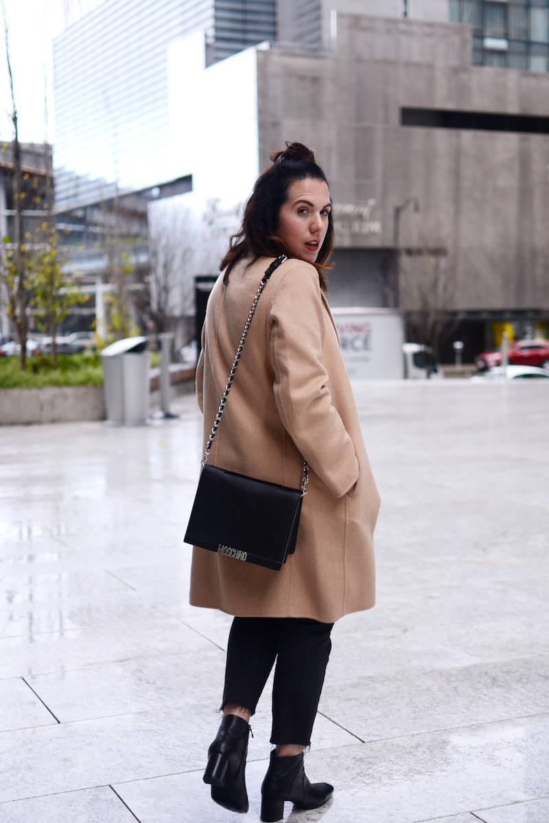 Gap camel wool coat UNIQLO ultralite down vest moschino bag geox symphony boots levis wedgie jeans vancouver fashion blogger winter outfit
