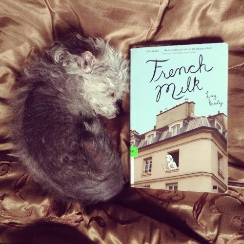 An overhead shot of Murchie curled up on a bronze comforter beside a paperback copy of French Milk. The book's cover features a photograph of a fancy French apartment building against a blue sky. A black and white drawing of a white girl smoking a cigarette emerges from the nearest window.