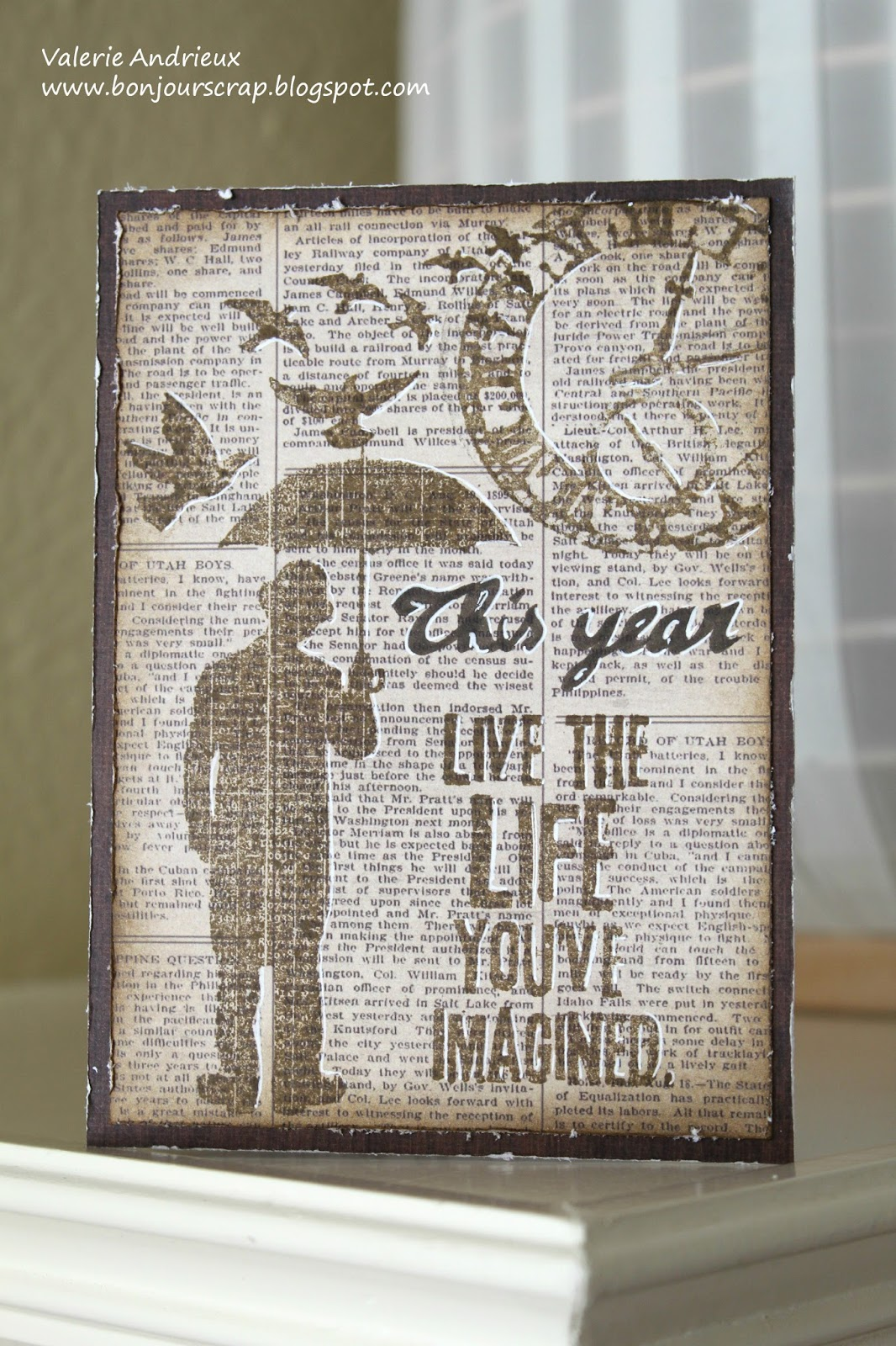Bonjour Scrap New Year Card In Tim Holtz Style