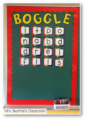 Photo of Boggle board display.