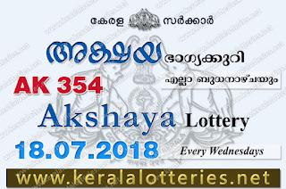 Kerala Lottery Results 18-07-2018 Akshaya AK-354 Lottery Result, Kerala Lottery, Kerala Lottery Results, Kerala Lottery Result Live, Akshaya, Akshaya Lottery Results,