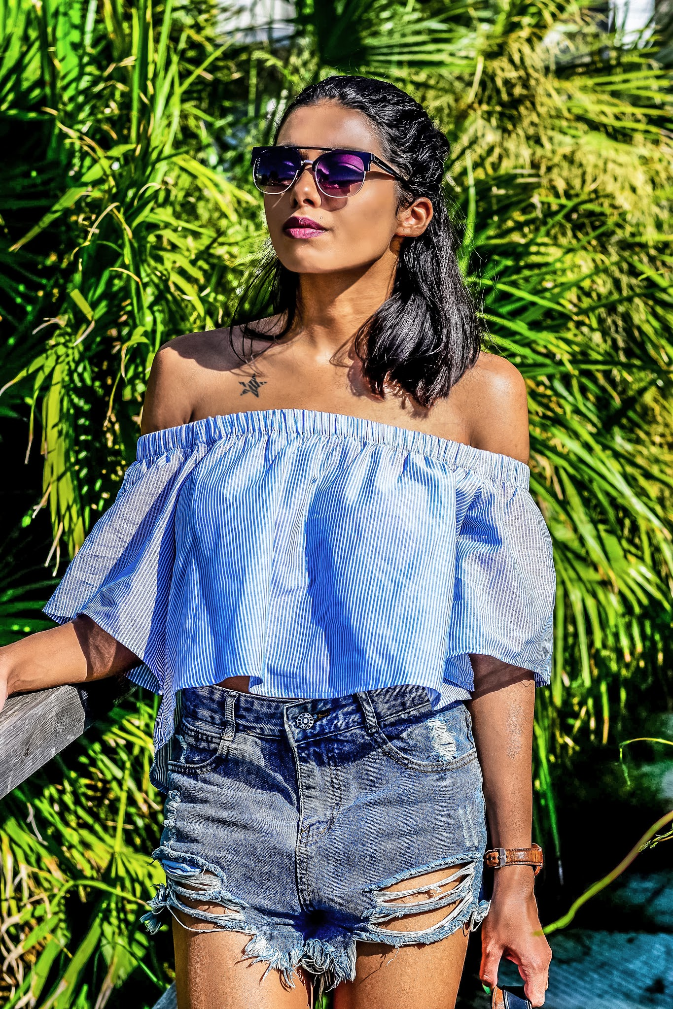 off shoulder top and denim shorts summer in greece outfit
