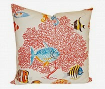 Blue Fish and Coral Pillow