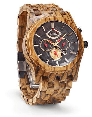 Picture of JORD Sawyer series luxury wooden watch with zebrawood strap and obsidian face