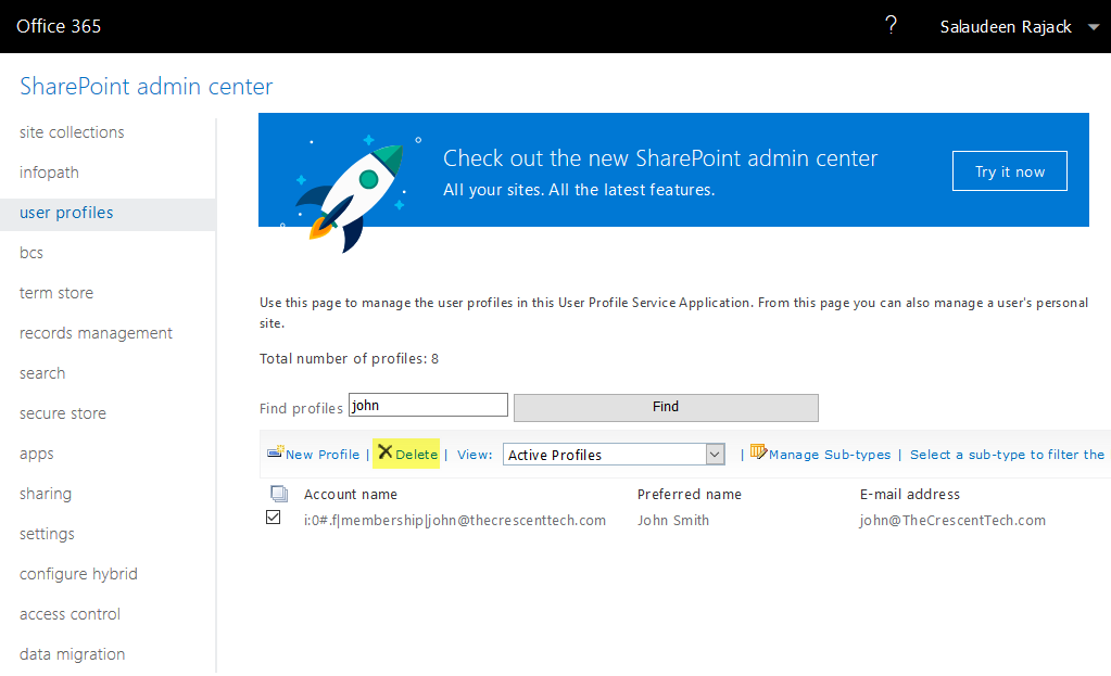 sharepoint online delete user profile powershell