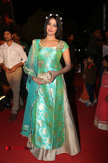 Actress Sanjjanaa Stills in Green Long Dress at Gemini TV Puraskaralu 2016 Event  0046.JPG