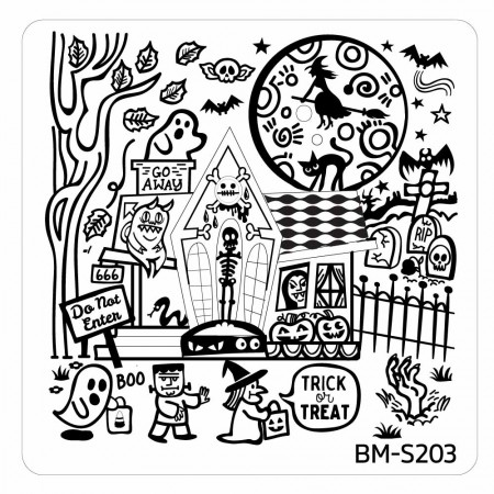 Lacquer Lockdown - Halloween, halloween nail art, halloween nail art stamping plates, nail art, nail art stamping ideas, holiday nail art, Bundle Monster, BMC, square stamping plates, typography