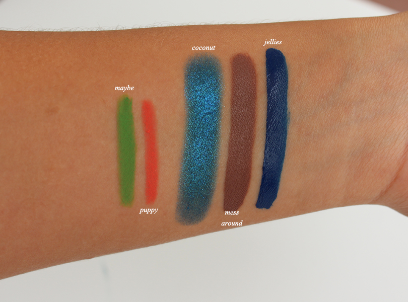colourpop cosmetics haul review swatches creme eyeliners puppy maybe orange green satin lip matte mess around jellies coconut super shock blue eyeshadow